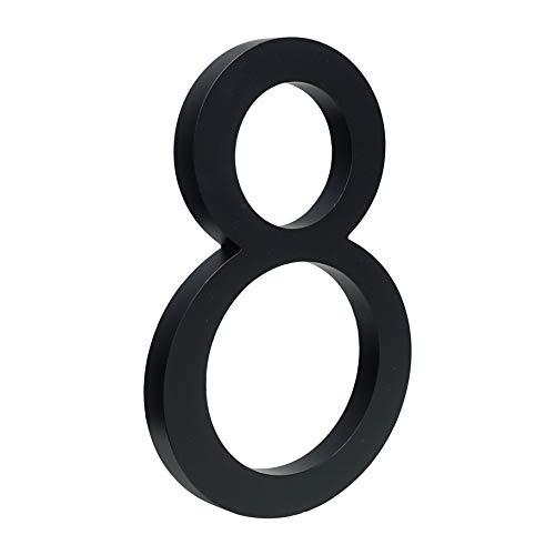 HASWARE Número de casa flotante de 6 pulgadas (15 cm) Números de puerta con estilo Placa del alfabeto Números de dirección de casa de la calle (8, Negro)