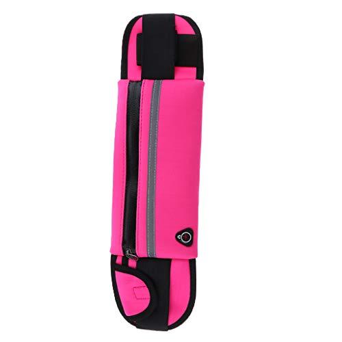 lahomia Cinturón para Correr con Botella de Agua Bolsa de Cintura Bolsillo con Cremallera para Caminar Ciclismo Gimnasio - Rosa Caliente