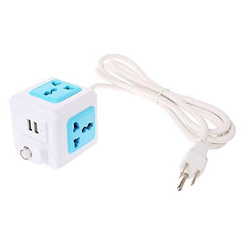 ASDFGT-778 2020 Nuevo Cubo Inicio DE Inicio DE LA EU/EEUU/UE/UK/Enchufe 4 Adaptador de extensión Externa Socket Universal (Color : Blue, Plug Type : Us)