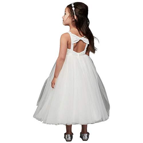 David's Bridal Pleated Flower Girl/Communion Ball Gown Flower Girl/Communion Dress with Back Bow Style CR1403, Soft White, 4