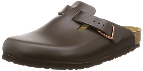 Birkenstock Herren Boston Smooth Leather Wide Clogs, Braun (Dunkelbraun), 41 EU