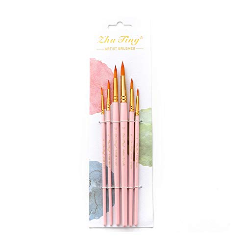 Paint Brush, Entweg Paint Brushes, 6pcs Art Paint Brushes Pen Set Round Pointed Tip Professional Paintbrush Nylon Hair Wooden Handle for Acrylic Oil Watercolor Gouache Face Painting Art Supplies for