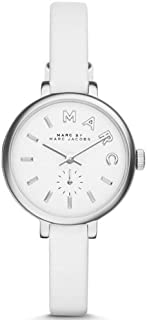 Marc By Marc Jacobs Sally Women's White Dial Leather Band Watch - Mbm1350, Analog Display, Japanese Quartz Movement