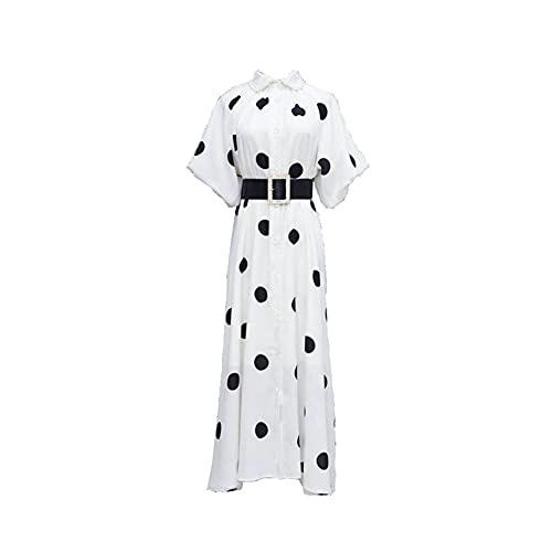 XJTJSM Frauen Maxi Kleid, Sommer Dot Puff Sleeve Retro Elegante Lange Kleider, weißer Chiffon Party Club, Plus Größe...
