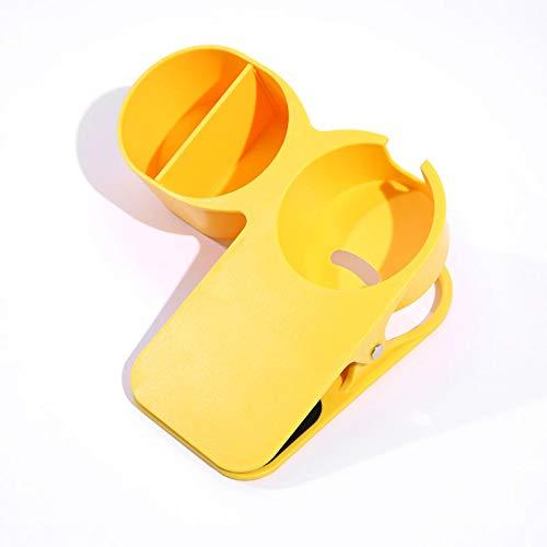 クリップ式 カップホルダー テーブル収納 デスクサイド 収納ホルダー 小物入れ ドリンク ホルダー 可動 テレワーク 携帯充電 転倒防止 (イエロー)