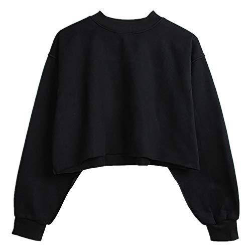 N\P Suéter corto de felpa para mujer con cuello redondo