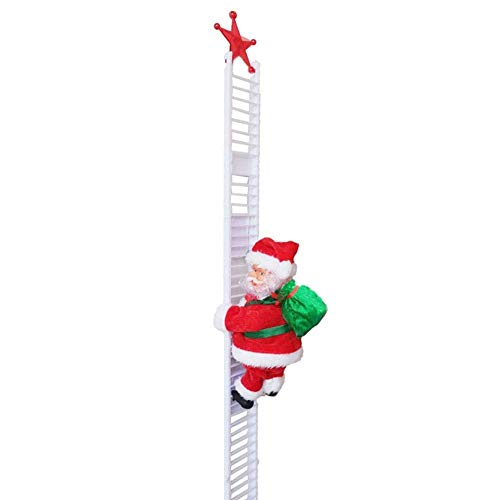 Turtle Story Electric Santa Claus Climbing Ladder Doll, Hanging Ornament Plush Santa Doll Toy for Window Christmas Tree Decoration JXNB (Color : White)
