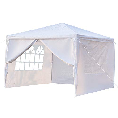 4-Sides Portable Outdoor Pergola,Tent with Waterproof and Windproof Functions Suitable for Wedding, Camping, Parking and Other Parties,Can accommodate Multiple People,3x3m,White [US Stock]