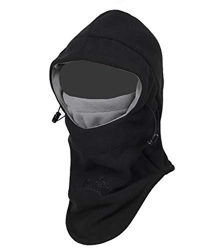 Purjoy Multipurpose Use Thermal Warm Fleece Balaclava Hood Police Swat Ski Bike Wind Stopper Full Face Mask Hats Neck Warmer Outdoor Winter Sports Snowboarding Cap (Black+Grey)