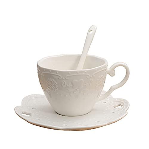 YEZHENGHUA YZHUA 200 ml Productos Hechos a Mano Pareja de cerámica Creativa Copas de café Plato con una Cuchara de Alto Juego de Regalo (Color : A)