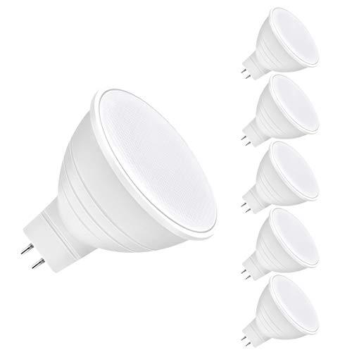 LEHASI MR16 LED-Leuchtmittel, GU5.3, 3000 K warmweiß, nicht dimmbar, 6 W entspricht 40 W Halogenlampe, 480 Lumen, Spotlicht, Lampe, 120 Grad Weitwinkel, 230 V, 5 Stück