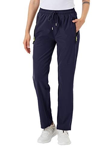 donhobo Damen Outdoorhose Schnelltrocknende Wanderhose Leichte Wasserdicht Atmungsaktive Elastische Jogginghose Freizeithose (Navy, L)