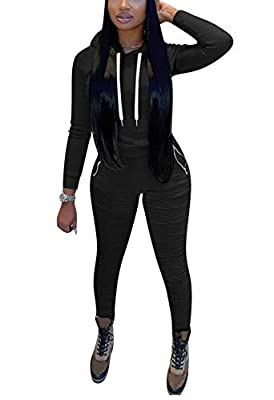 Two Piece Outfits for Women Hooded Pullover Hoodie + Bodycon Stacked Leggings Tracksuit Set Sweatsuits Jumpsuits Large Black