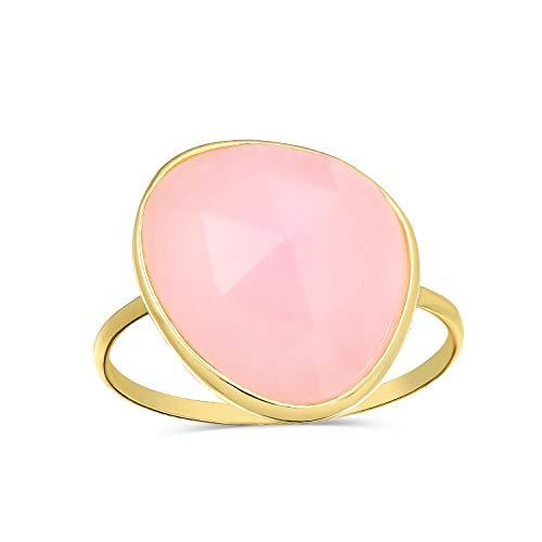 Bling Jewelry Boho Rosa Vielfältige Simulierten Erklärung Chalcedon Quarz Ringe Für Damen 14K Vergoldet Sterling Silber 1MM Band