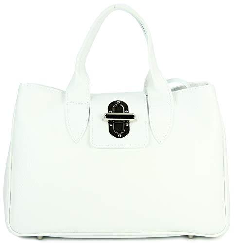 Belli Echt Leder Handtasche Damen Ledertasche Umhängetasche Henkeltasche in weiß - 36x25x18 cm (B x H x T)