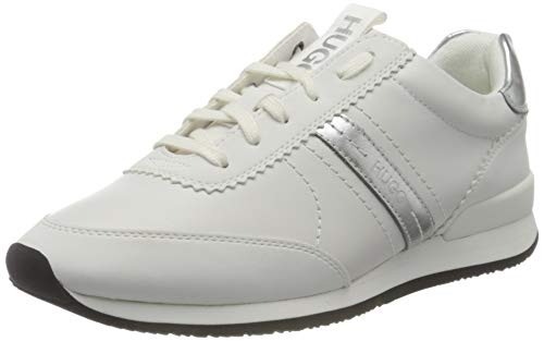 HUGO Damen Adrienne_Laceup_Pl Sneaker, White100, 38 EU