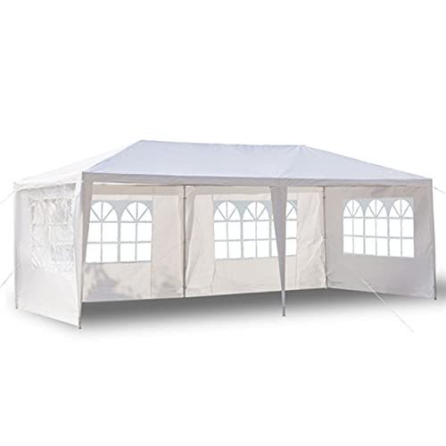 LUWEI Garden Gazebo Canopy Tent, 3 x 6m Waterproof Outdoor Marquee with 4 Side Panels and Spiral Tubes, for Party Wedding Parking BBQ Commercial Events