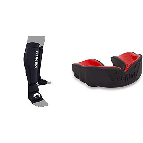 Venum Erwachsene Schienbeinschützer Kontact Evo Schwarz, M/L & Erwachsene Zahnschutz Challenger Schwarz/Rot, One Size