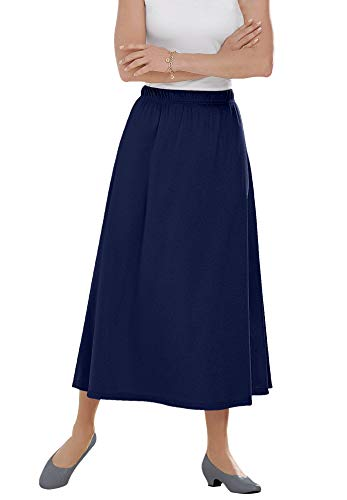 Woman Within Women's Plus Size 7-Day Knit A-Line Skirt - L, Navy