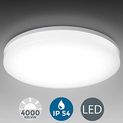 B.K.Licht I LED Deckenleuchte I spritzwassergeschützt IP54 I 24W LED Platine mit 2800lm I 4.000K neutralweisse Lichtfarbe I Ø33cm I Badezimmerlampe I Deckenlampe I Badleuchte