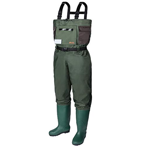 RUNCL Chest Waders, Waist-High Waders, Bootfoot Waders - Reinforced Nylon Outer Layer, Seamless Breathable Tech, Ergonomic Design, Fly Patch - Wader Fishing Fly Fishing Hunting (Green, M5/W7)