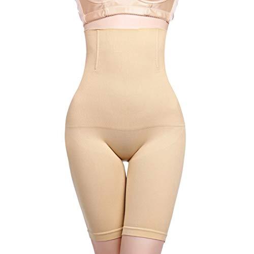 Hohe Miederhose für Damen - Miederpants mit Bein - Schwarz & Beige/Nude - bauchweg Shapewear (XS,S,M,L,XL,XXL,3XL,4XL) auch Plus Size - figurformend - hohe Taille (Beige, M/L)