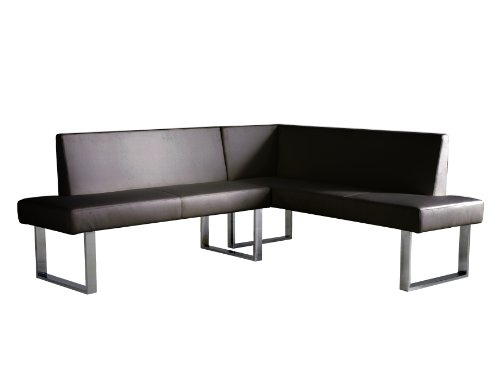 Armen Living Amanda Sectional in Black and Chrome Finish