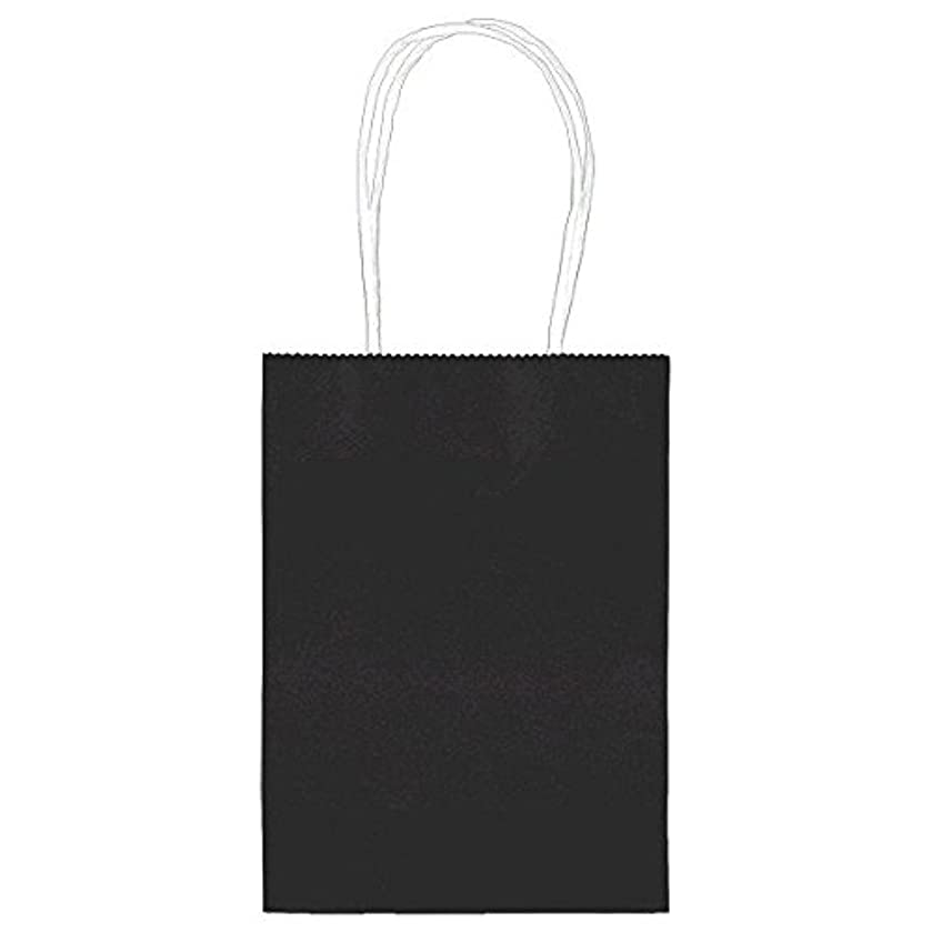 24 Small Solid Black Color Kraft Paper Gift Bags - 5
