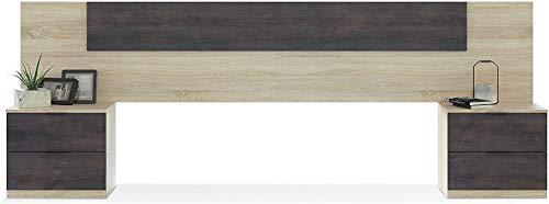Mobelcener – Cabezal y 2 Mesitas de Noche – Cabecero Matrimonio y 2 Mesitas de Noche – Color Roble Canadian y Óxido - Medidas: Ancho: 247 cm x Fondo: 38 cm x Alto: 95 cm - (1093)