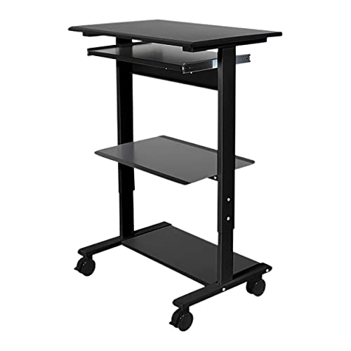 Stand Up Desk Store Mobile Rolling Adjustable Height Standing Workstation with Printer Shelf and Slideout Keyboard Tray (Black Frame/Black Top, 30' Wide)