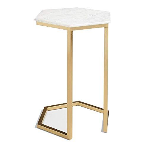 Axdwfd Sofa Table d'appoint Nordic Coffee Table Hexagonal en marbre blanc comptoir + cadre en fer forgé doré maison ou bureau table 40 * 40 * 57 cm