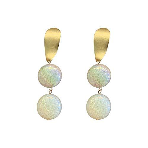 RONGW JKUNYU Europa y los Estados Unidos pendientes de temperamento simple marea párrafo largo oro geométrica perla pop pendientes pendientes hembra