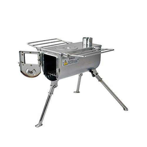 Winnerwell Woodlander Small Tent Stove   Tiny Wood Burning Stove Tents, Shelters, and Camping   450 Cubic Inch Firebox   Stainless Steel Construction   Includes Chimney Pipe