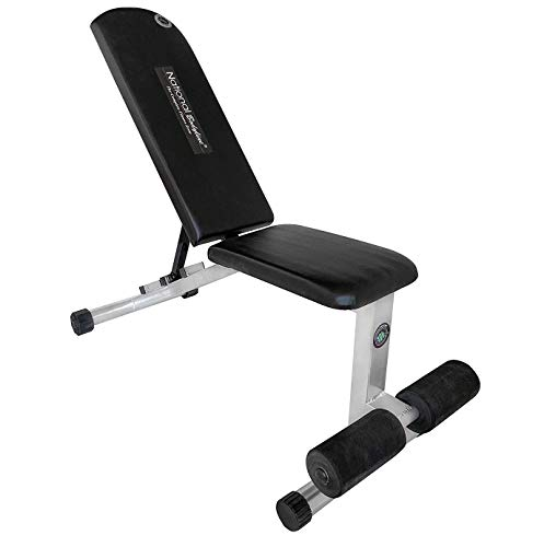 National Bodyline Adjustable Weight Bench Full Body Workout Machine, Foldable Incline Decline Flat Bench Press, Exercise Table, Heavy Duty Gym Training, Multi Bench (Super Bench), Silver