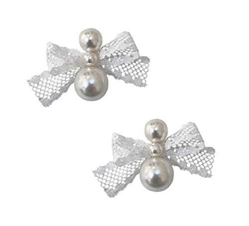MENGHUA 925 Silver Needle Bow Lace Pendientes Tamaño Pendientes de Perla Temperamento Temperamento Ins Pendientes de Viento Mujeres
