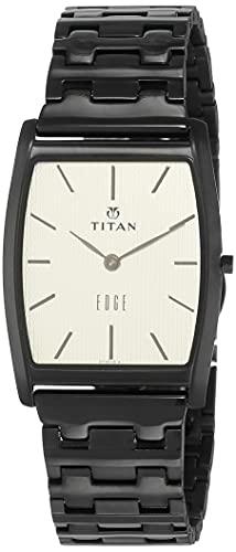 Titan 1044NM02 - Reloj de cuarzo para hombre con correa de acero inoxidable, color negro
