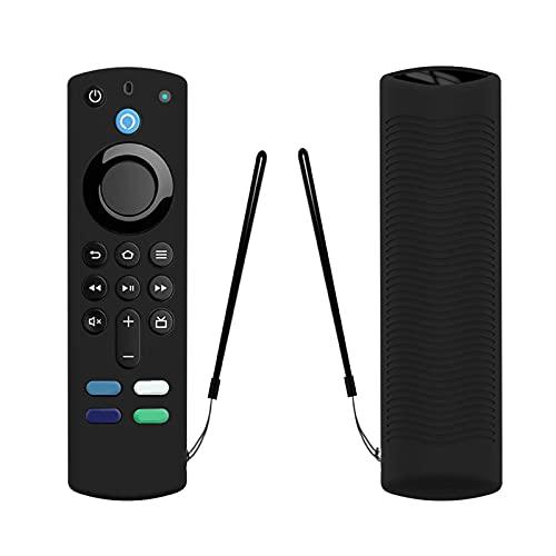 2021 Anti-Drop-weiche Silikonhülle für Alexa-Sprachfernbedienung (3. Generation), Schutzhülle Fire Stick TV mit Anti-Verlust-Gurt [Leicht/Stoßfest]