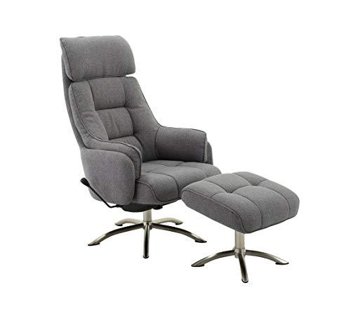 MJC Relaxsessel FM-459-1 grau mit Hocker bis 120 kg Fernsehsessel Wippfunktion Tv-Sessel