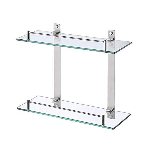 KES Glasregal Duschablage Glasablage für Badezimmer Wandregal Edelstahl SUS304 Badregal Glas 6mm Dusche Ablage 2 Etagen Aufbewahrung Wandmontage Gebürstet, BGS2202B-2