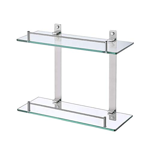 KES Bathroom Lavatory Double Glass Shelf Wall Mounted Floating, Rustproof Brushed SUS304 Stainless Steel, BGS2202B-2