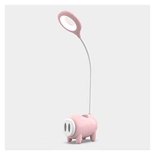 Lámpara de escritorio Lámpara de escritorio LED regulable Lámpara de escritorio Piggy con puerto de carga USB Lámpara de estudio flexible con soporte de teléfono de pluma, control táctil, 2 colores Lá