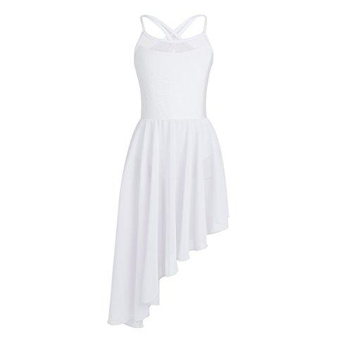 inlzdz Kids Girls Cross Back Camisole Leotard Ballet Tutu Dress Lyrical Modern Contemporary Dance wear Costumes White Irregular Hem 13 14 Years