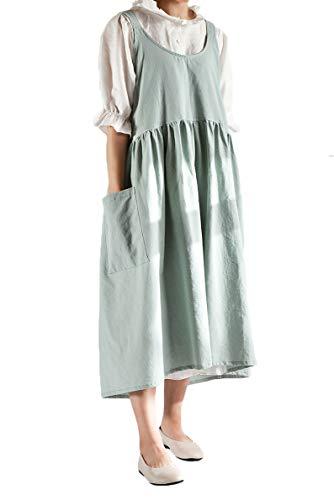 Pinafore, delantal cuadrado de algodón y lino, para trabajo de jardín, estilo pinafore, vestido midi, tamaño grande, Verde, Talla única