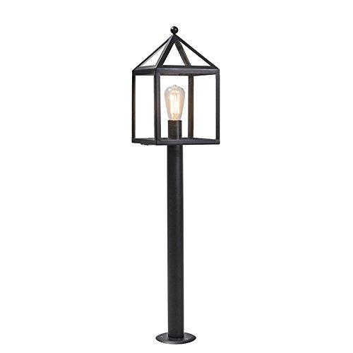 QAZQA Modern Außenleuchte/Wegeleuchte/Gartenlampe/Gartenleuchte/Standleuchte Pfahl schwarz 100 cm - Amsterdam/Außenbeleuchtung Glas/Edelstahl Würfel/Quadratisch/Länglich LED geeignet E27