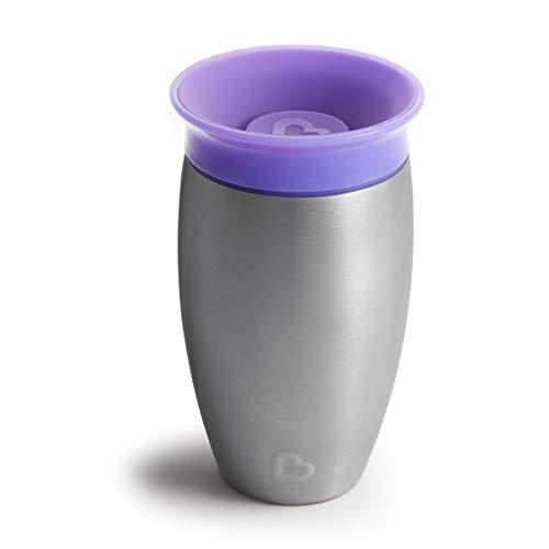 Munchkin Miracle 360°- Vaso antiderrames en acero inoxidable, morado, 296 ml