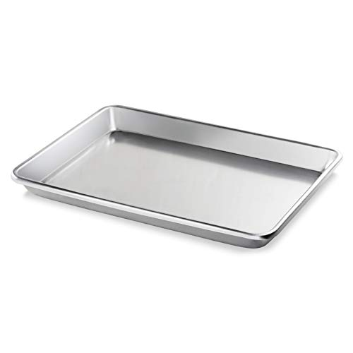 New Star Foodservice 36800 Commercial-Grade 12-Gauge Aluminum Open Bead Sheet Pan/Bun Pan, 18' L x 26' W x 2' H (Full Size) | Measure Oven (Recommended)