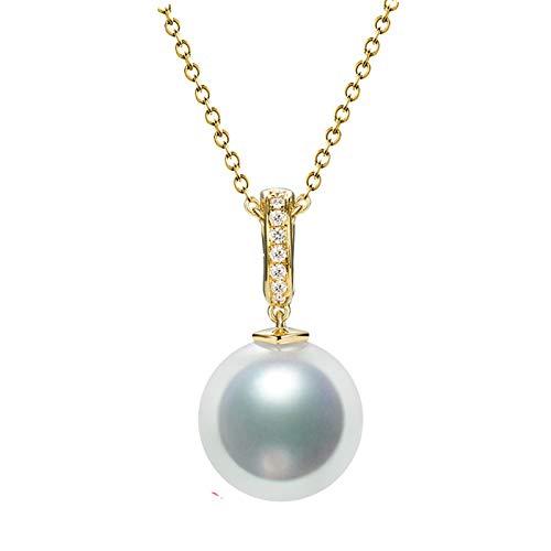 KnSam 18K Oro Amarillo Collar, Collar de Mujer Redondo con Perla Diamante Blanco, Perla Blanco, Color Oro