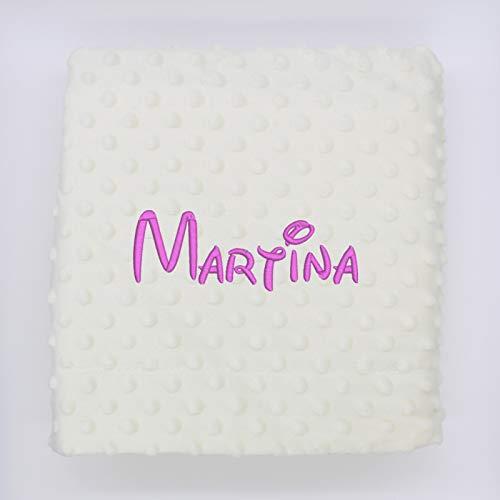 Manta bebe personalizada con nombre bordado - Mantita Topitos tacto terciopelo 80x110 cm (Beige)