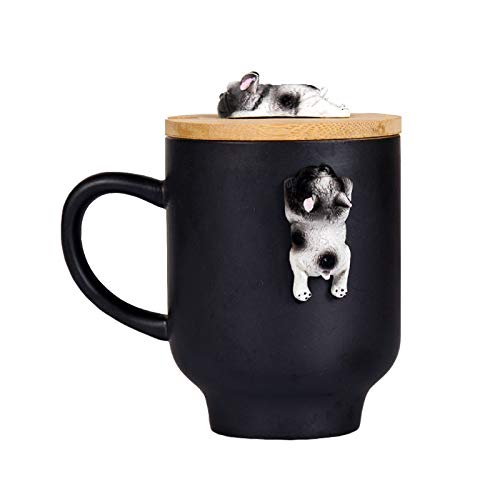 3D Cup Coffee Mug with Lid, Ceramic 3D Cute French Bullgog Figurine Ceramic Tea Milk Cup for Home Office (12oz,350ML) (Black, French Bulldog)