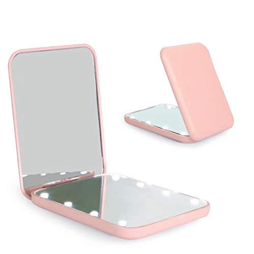 wobsion Compact Mirror, Magnifying Mirror with Light, 1x/3x Handheld 2-Sided Magnetic Switch Fold Mirror,Small Travel Makeup Mirror,Pocket Mirror for Handbag,Purse,Gifts for Girls(Pink)
